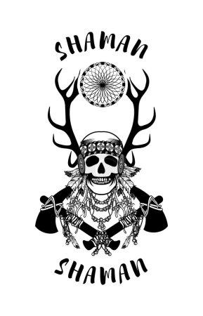 vector, Ilustración, origen étnico, cabeza, antiguo, retro - B94512896